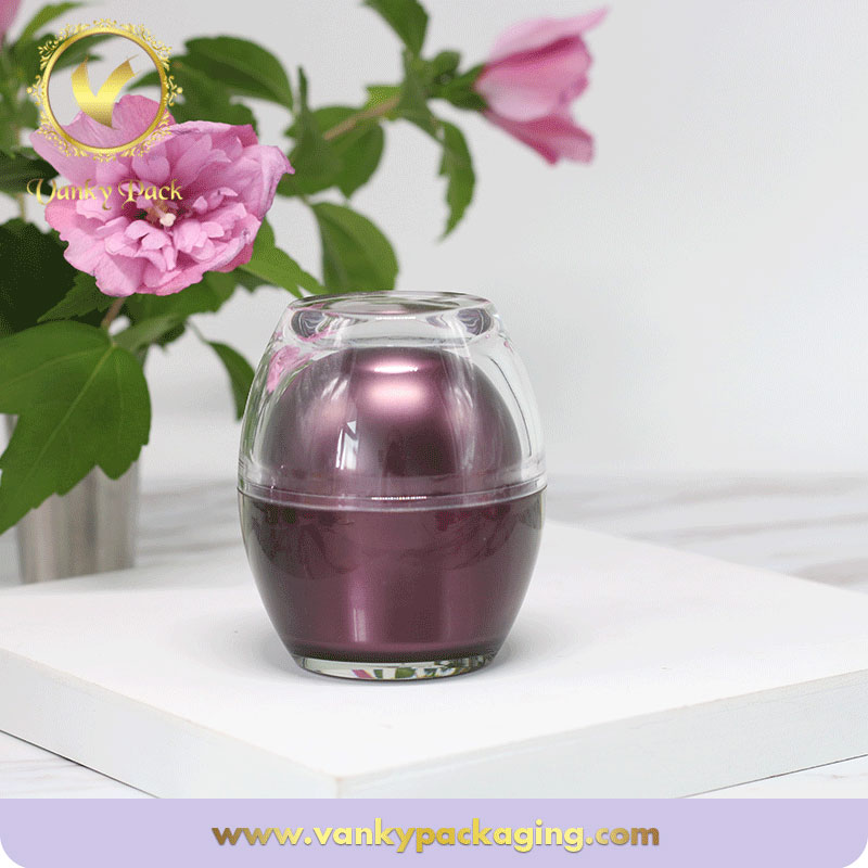 Ball Shape Double Layer Cap Plastic Acrylic Cream Jar for Cosmetic Packaging