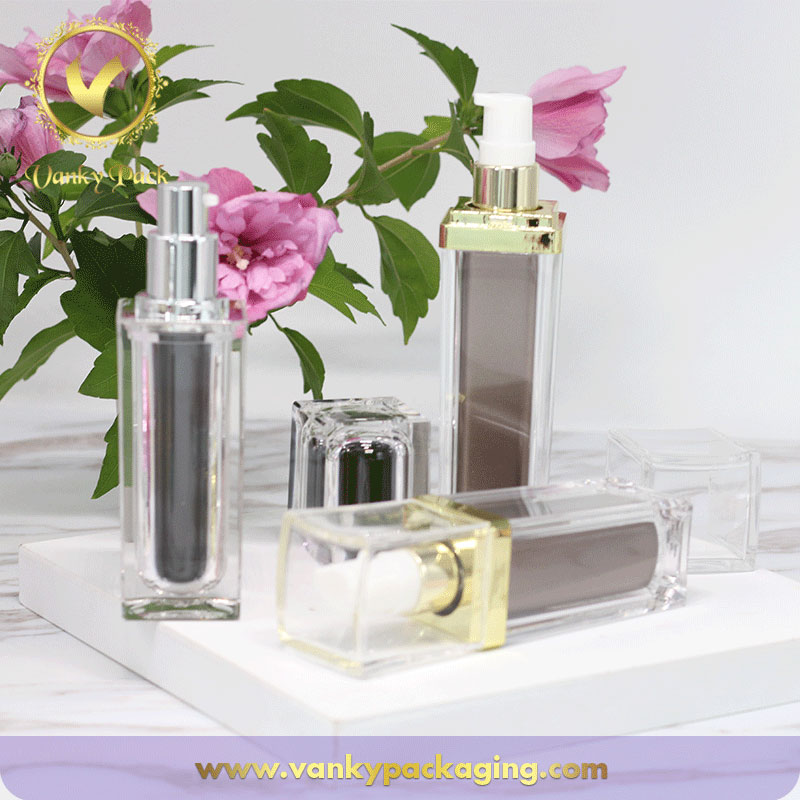 Cosmetic Lotion Square Shape Bottle With Plastic Press Pump