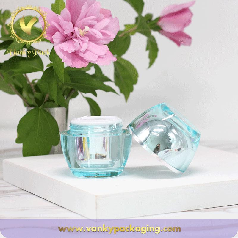 Clear Blue Transparent Plastic Acrylic Cream Jar With Screw Cap Packaging