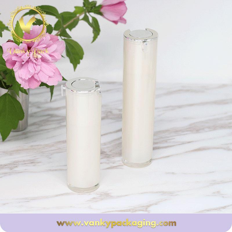 Straight Round Plastic Acrylic Bottle With Press Pump For Lotion Packaging