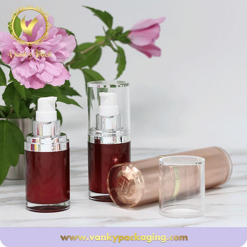 Plastic Acrylic Serum Bottle With Plastic Press Pump For Cosmetic Packaging