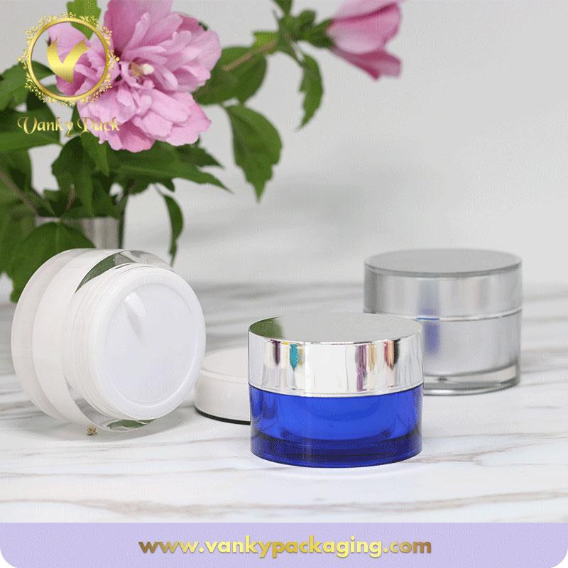 Custom UV Printing Color Cream Plastic Acrylic Jar With Screw Cap Packaging