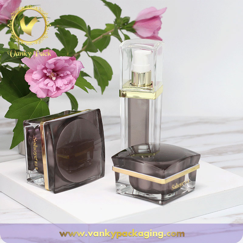 Whole Series Square Shape Plastic Acrylic Bottle And Jar Packaging