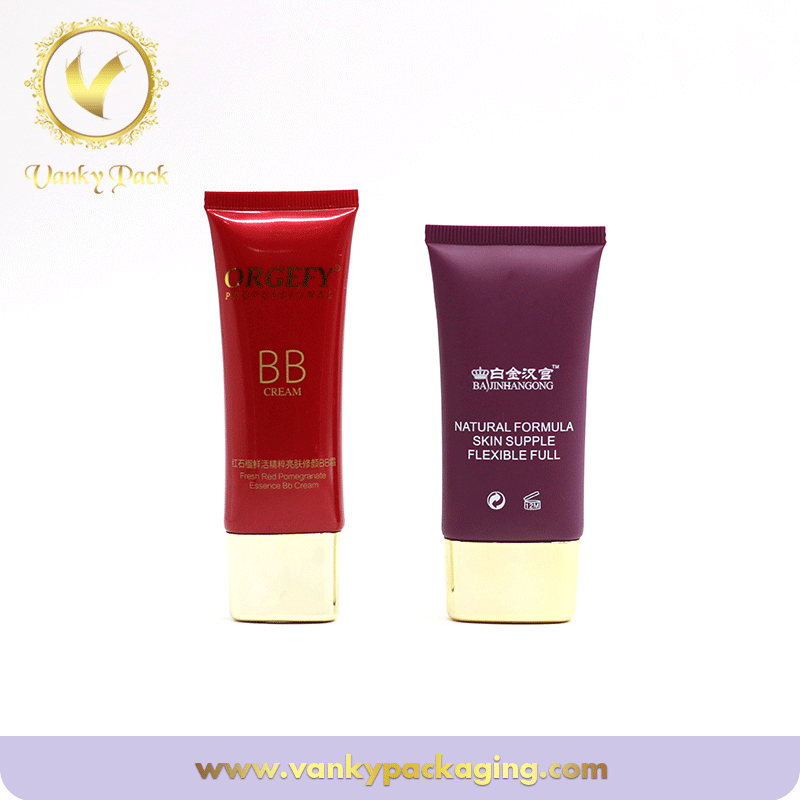 Oval Bb Cream Cosmetic Packaging Plastic Tube With Gold Cap For Skin Care