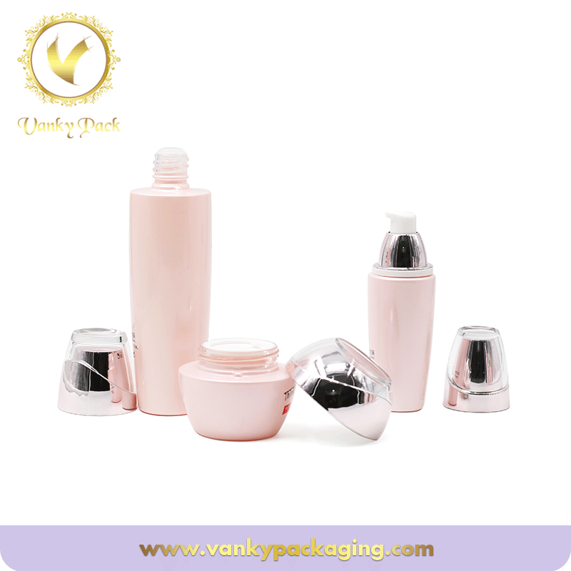 Pink Cosmetic Glass Lotion Bottles For Cream Toner Packaging Wholesale