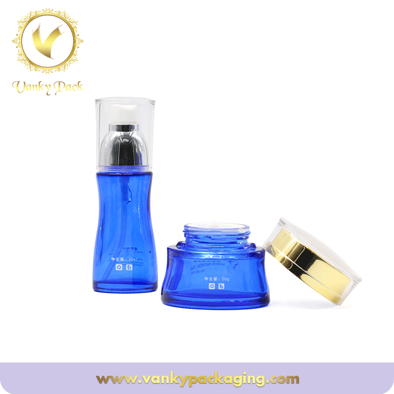 New Products blue Serum Glass Bottle For Cosmetics With Pump