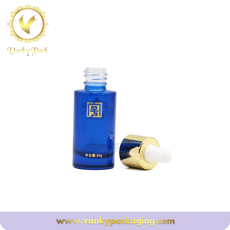 Blue paintied Cosmetic Glass Bottle With gold dropper 30ml