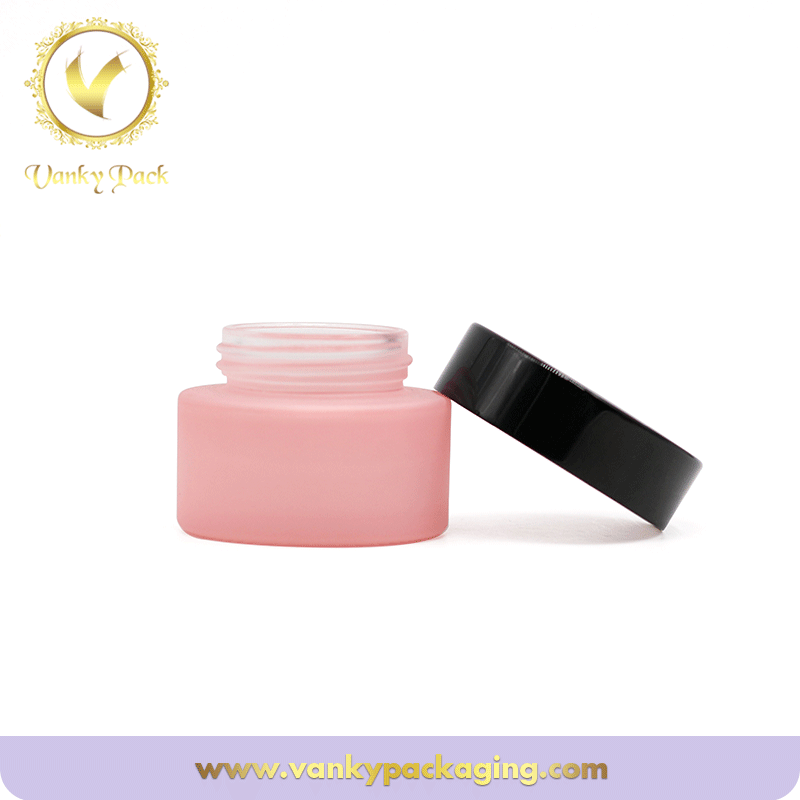 Pink Cosmetic Jar Glass With gold Lid 30g 50g 100g Glass Jars