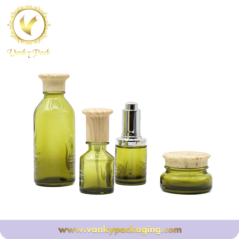 Eco-friendly Cosmetic Packaging  Glass Vials With wooden printing Cap