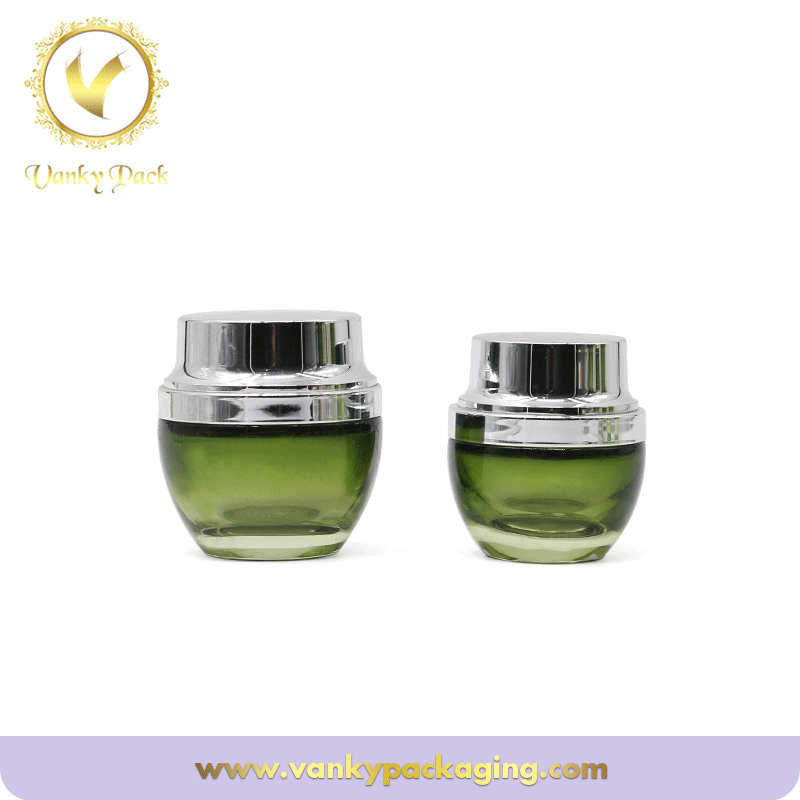 Green Gradient color Glass 50g 100g skin care Cosmetic Glass jar with silver lid