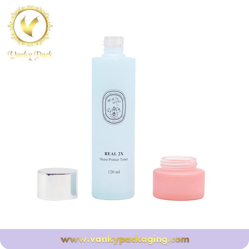 Cosmetic Frosted Glass bottle For Lotion Packing With Cap