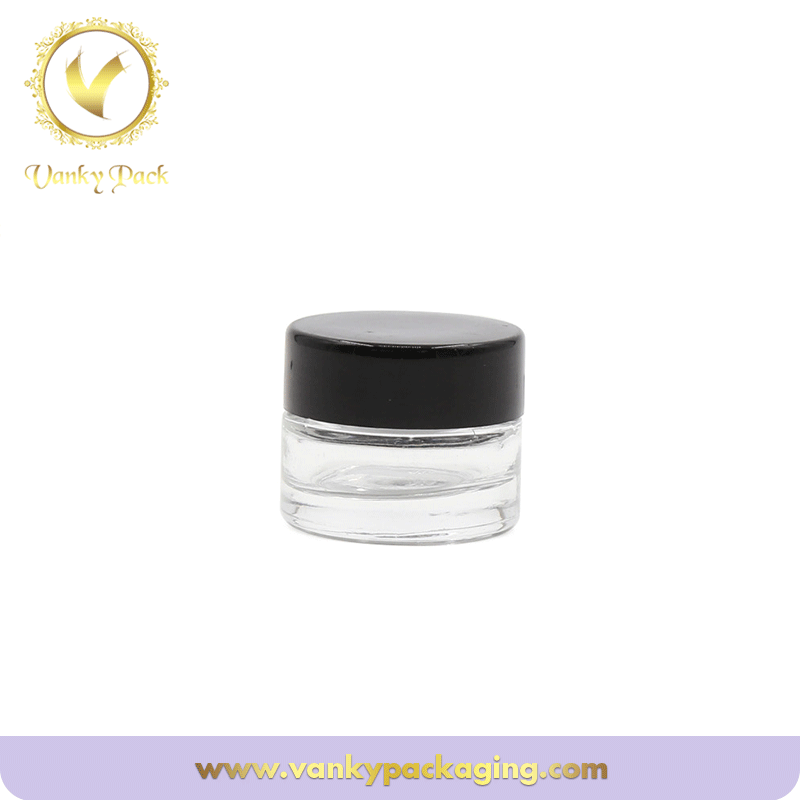 Cosmetic clear Glass jar for eye shadow and lip balm