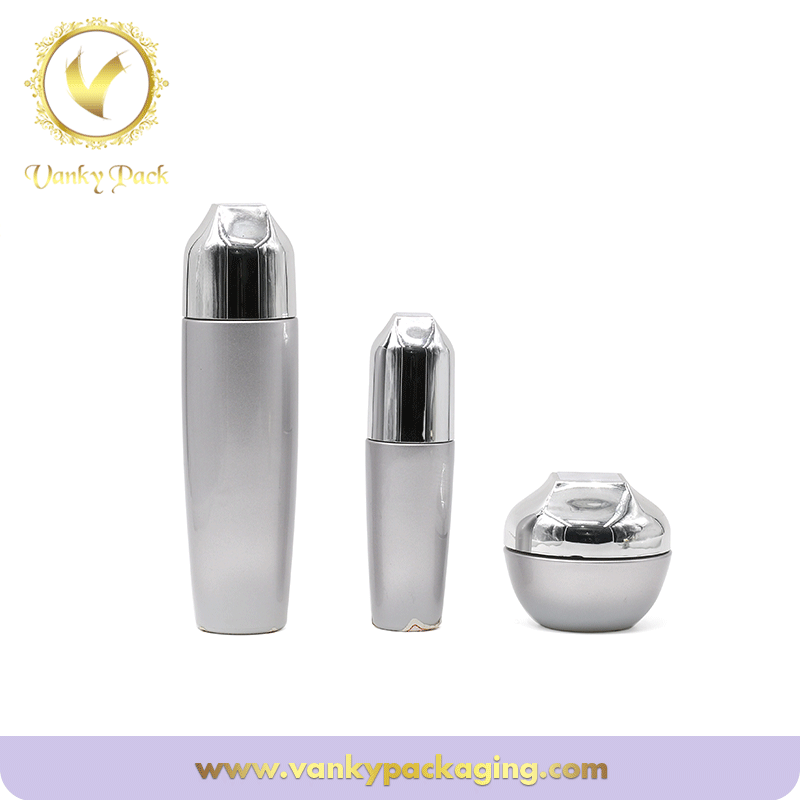 Silver Glass 50g 100ml skin care Cosmetic Glass bottle with pump
