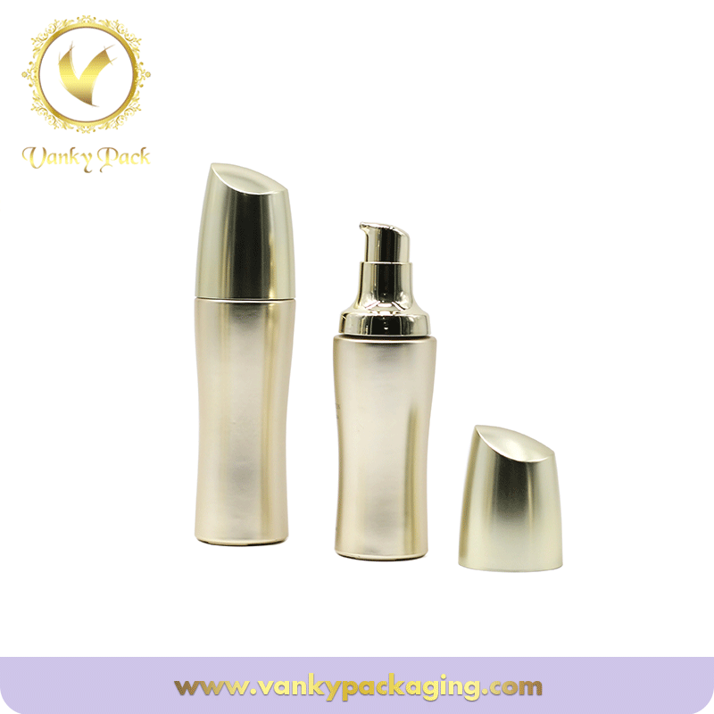 Golden color Glass 50g 100ml skin care Cosmetic Glass bottle with pump