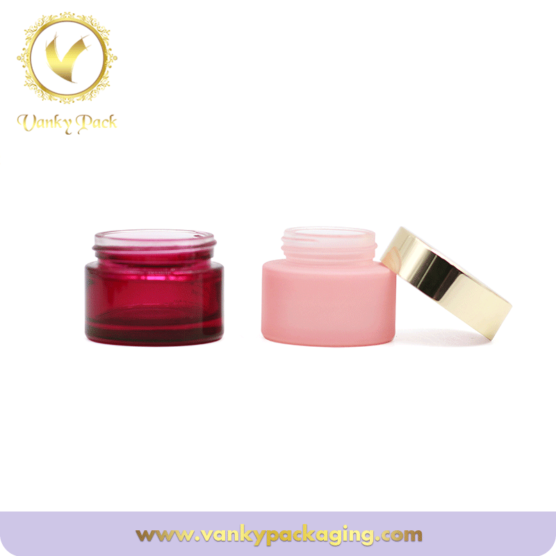 Red Cosmetic Jar Glass With gold Lid 30g 50g Glass Jars