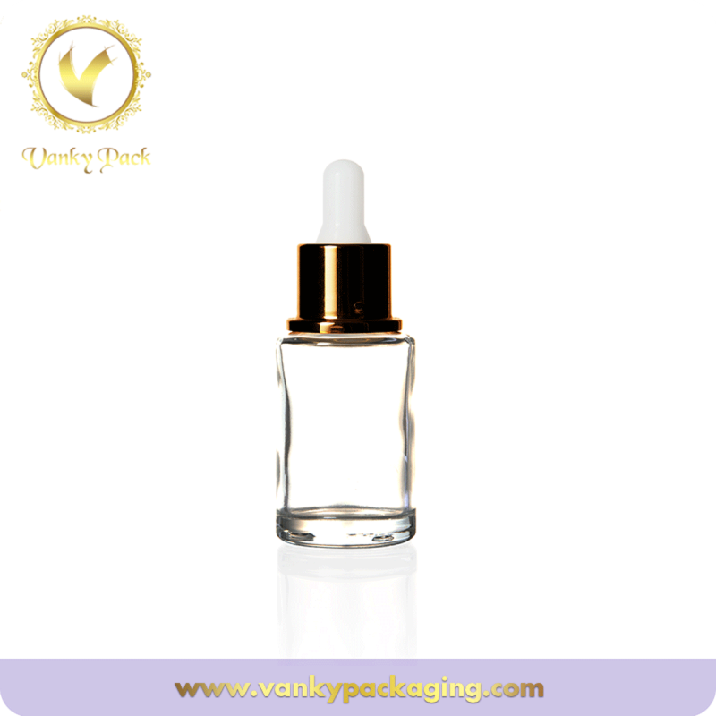 Skin care clear glass serum bottle cosmetic use