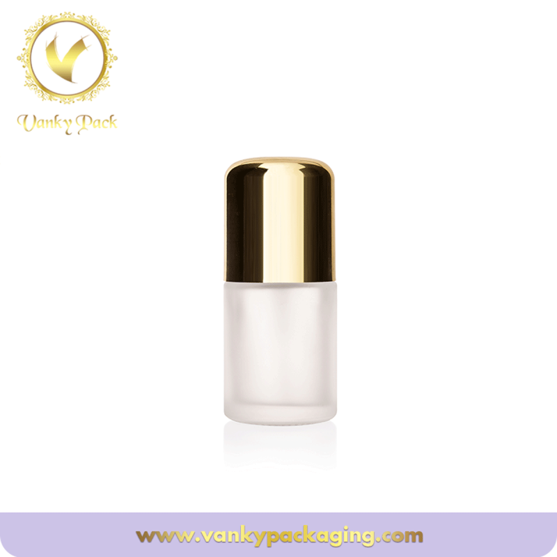 Frosted glass cosmetic foundation bottle with golden cap