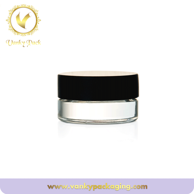 5g glass jar with black plastic lid for concealer