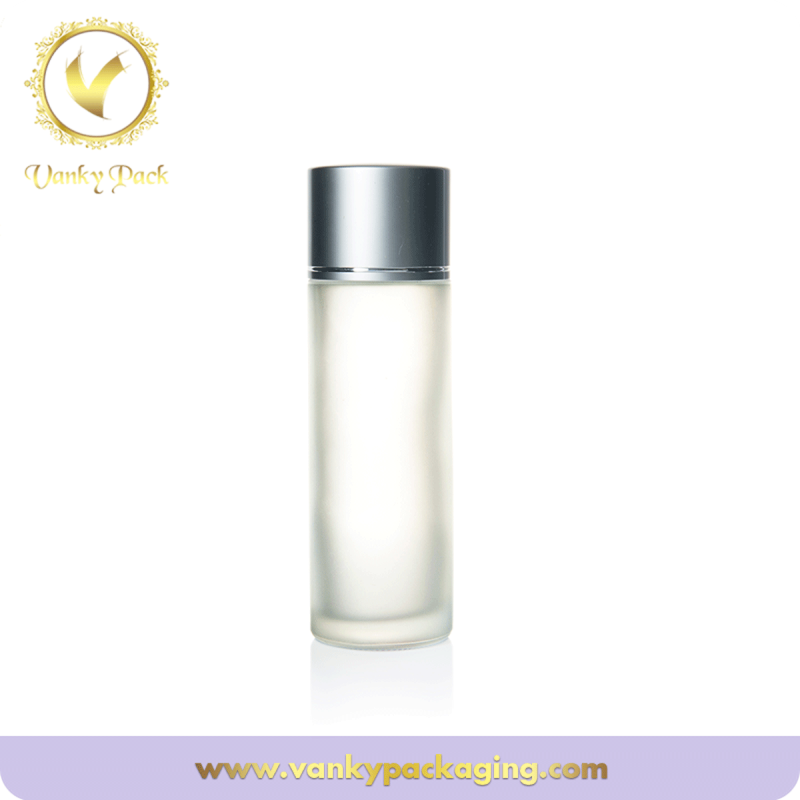 Cosmetic glass lotion toner bottle With silver aluminum cap