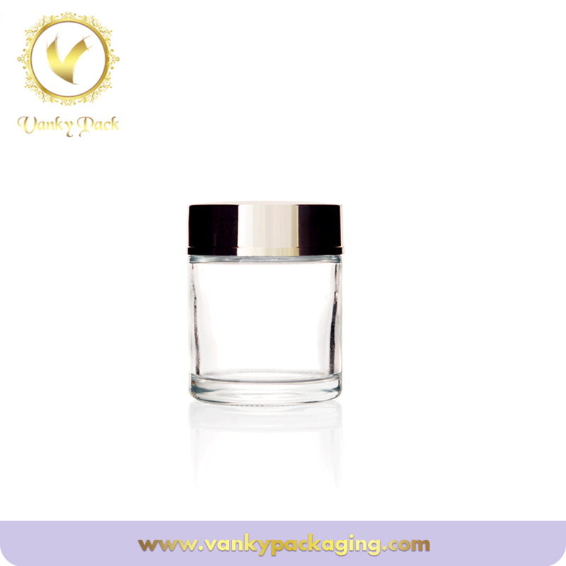 Customized cosmetics packaging 50g clear cosmetic glass jar